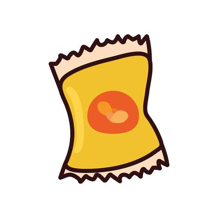 chips bag line and fill style icon design, fast food eat restaurant menu dinner lunch cooking and meal theme Vector illustration