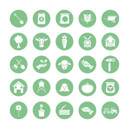 silhouette block style icon set design, agronomy farm lifestyle agriculture harvest rural farming and country theme Vector illustration