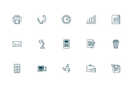 Line style icon set design, Office business objects workforce corporate job work occupation and communication theme Vector illustration 版權商用圖片 - 142083009