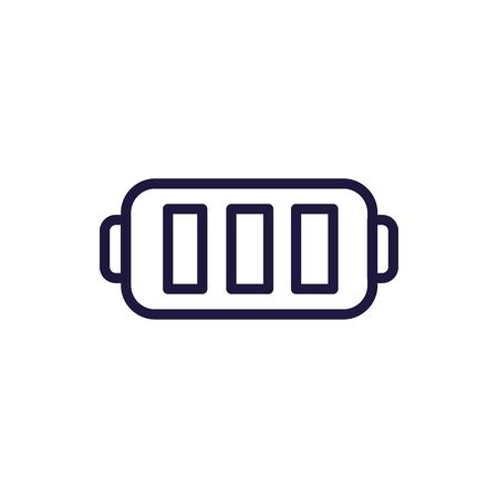 Battery line style icon design, Energy power technology charge electricity accumulator supply low and bar theme Vector illustration 版權商用圖片 - 142083113