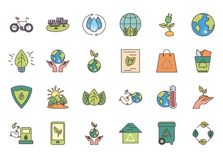 fill style icon set design, Ecology eco save green natural organic environment protection and care theme Vector illustration