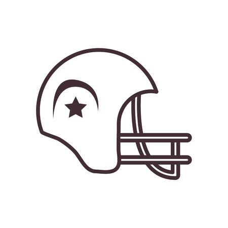 helmet line style icon design, American football super bowl sport hobby competition game training equipment tournement and play theme Vector illustration  イラスト・ベクター素材