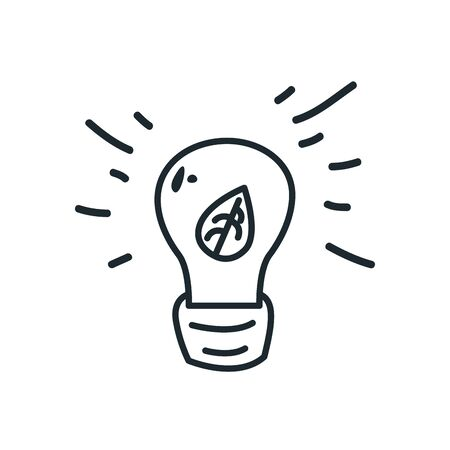 leaf inside light bulb line style icon design, Ecology eco save green natural organic environment protection and care theme Vector illustration