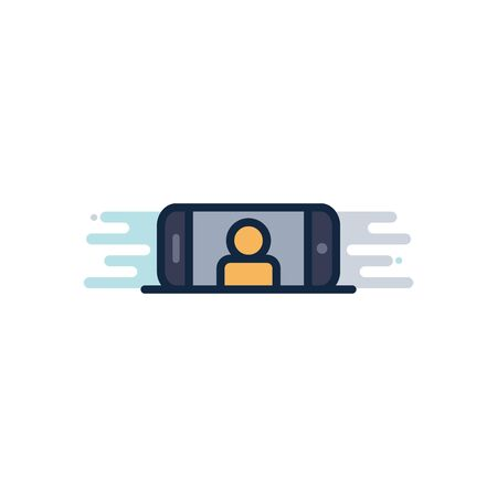 smartphone with avatar on screen device line fill block style icon design, photography technology equipment digital photo focus and electronic theme Vector illustration