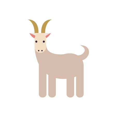 Cute goat cartoon fill style icon design, Animal zoo life nature character childhood and adorable theme Vector illustration