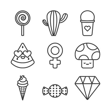 cute elements line style icon set design, Kawaii expression character funny emoticon and childhood theme Vector illustration