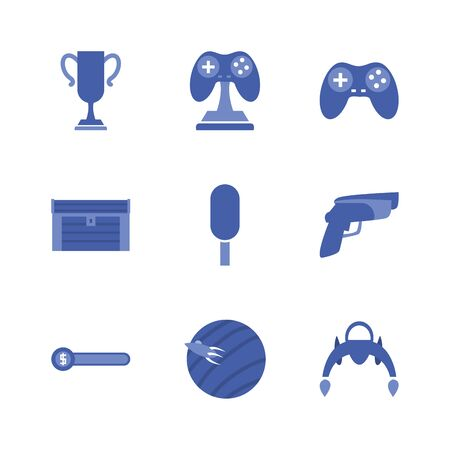 line style icon set design, Videogame play leisure gaming technology entertainment obsession digital and lifestyle theme Vector illustration