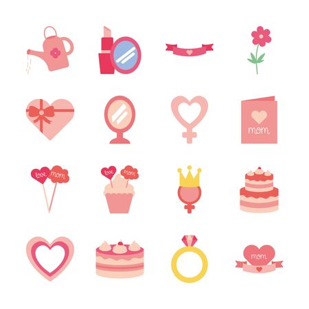 flat style icon set design, happy mothers day love relationship decoration celebration greeting and invitation theme Vector illustration