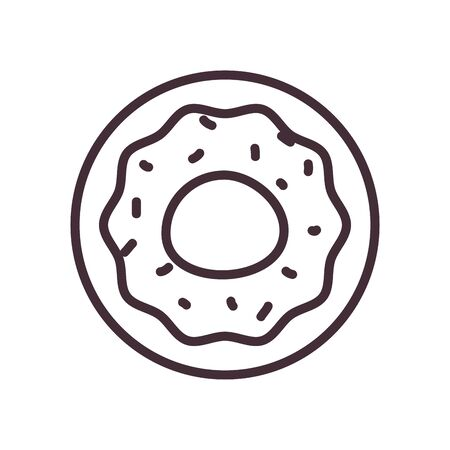Sweet donut line style icon design, dessert food delicious sugar snack and tasty theme Vector illustration