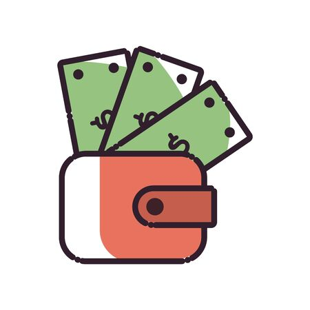 wallet with bills fill style icon of money financial item banking commerce market payment buy currency accounting and invest theme Vector illustration