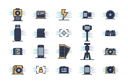 line fill block style icon set design, photography technology equipment digital photo focus and electronic theme Vector illustration