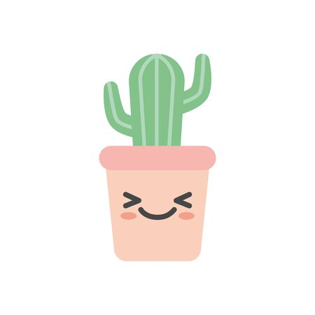kawaii cactus inside pot flat style icon design, Plant desert nature tropical summer mexico and western theme Vector illustration