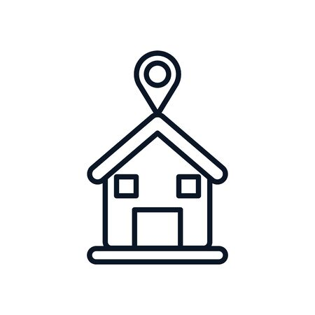 house with gps mark line style icon design, Map travel navigation route road location technology search street and direction theme Vector illustration