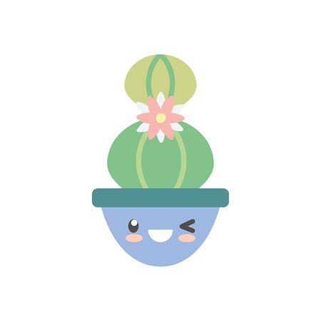 kawaii cactus with flower inside pot flat style icon design, Plant desert nature tropical summer mexico and western theme Vector illustration