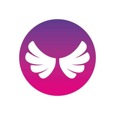 Wings silhouette block style icon design, animal feather bird angel wildlife flight freedom and tattoo theme Vector illustration