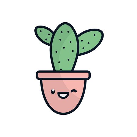 kawaii cactus inside pot flat fill style icon design, Plant desert nature tropical summer mexico and western theme Vector illustration