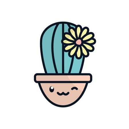 kawaii cactus with flower inside pot flat fill style icon design, Plant desert nature tropical summer mexico and western theme Vector illustration