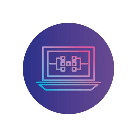 circuit inside laptop gradient style icon design, futuristic virtual technology modern innovation digital entertainment tech and simulation theme Vector illustration