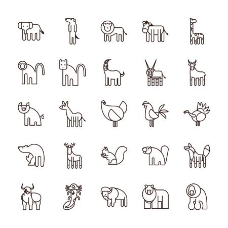 Cute animals cartoons line style icon set design, zoo life nature character childhood and adorable theme Vector illustration 向量圖像