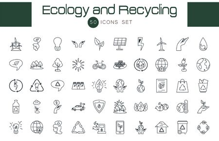 50 line style icon set design, Ecology eco save green natural organic environment protection and care theme Vector illustration Vektorgrafik
