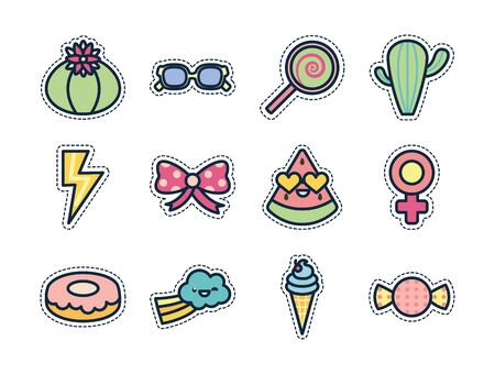 cute elements line fill style icon set design, Kawaii expression character funny emoticon and childhood theme Vector illustration