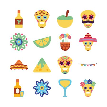 Mexican flat style icon set design, Mexico culture tourism landmark latin and party theme Vector illustration