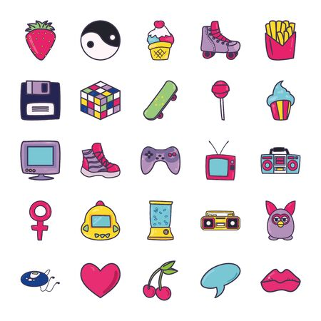 line and fill style icon set design, 90s retro leisure technology entertainment obsession digital and lifestyle theme Vector illustration Ilustração