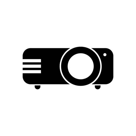 projector silhouette style icon design, movie cinema video film media entertainment show motion and presentation theme Vector illustration