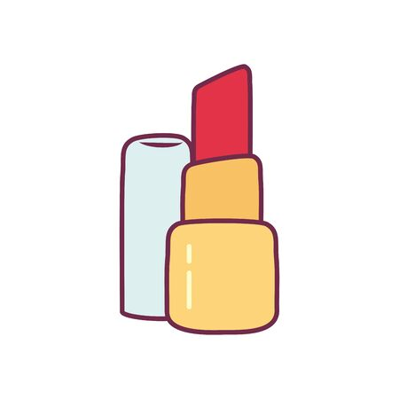 lipstick line and fill style icon design, Make up cosmetic fashion style glamour skin facial and glamour theme Vector illustration