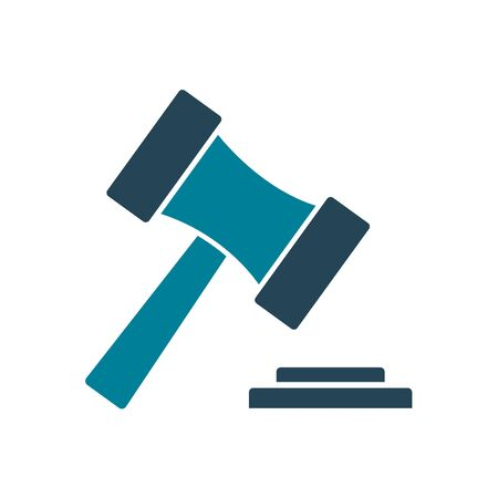 Law hammer silhouette style icon design, Justice legal judgment judical authority freedom veridict attorney and crime theme Vector illustration