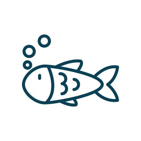 Fish animal line style icon design Sea life ecosystem fauna ocean underwater water nature marine tropical theme Vector illustration 向量圖像
