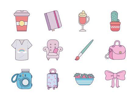 cute objects line and fill style icon set design, Ornament art cute idea creative and decorative theme Vector illustration