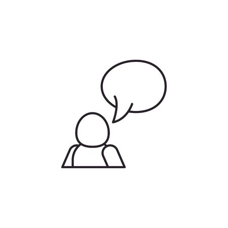 Avatar with bubble line style icon design of Person profile social communication human user partnership member and figure theme Vector illustration