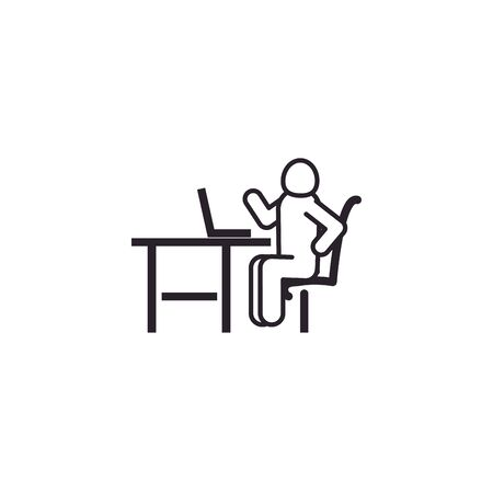 Avatar seated with laptop line style icon design of Person profile social communication human user partnership member and figure theme Vector illustration 向量圖像