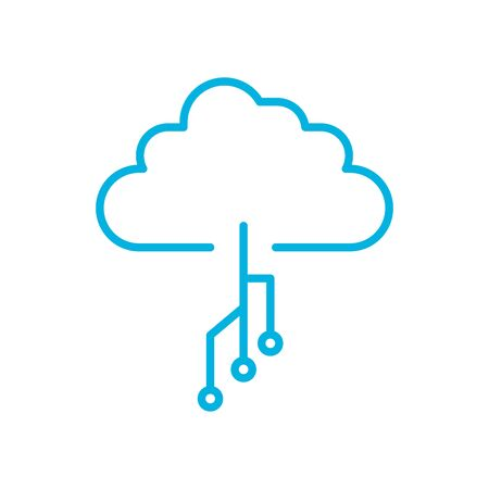 cloud with circuit line style icon design, futuristic virtual technology modern innovation digital entertainment tech and simulation theme Vector illustration
