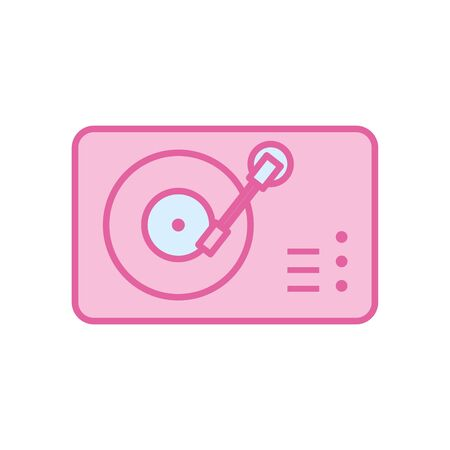 turntable neon line and fill style icon design, Music sound melody song musical art and composition theme Vector illustration 向量圖像