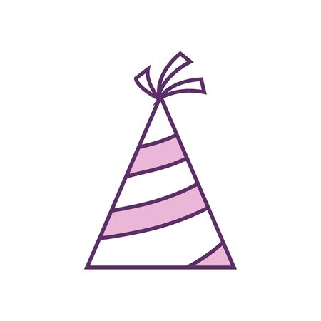 Hat line fill style icon design, Party celebration event happy birthday holiday surprise anniversary and decorative theme Vector illustration