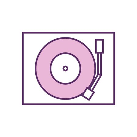 turntable line fill style icon design, Music sound melody song musical art and composition theme Vector illustration 向量圖像