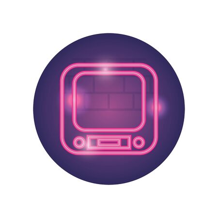 retro tv neon style icon design, Television device gadget technology electronic video screen display and home theme Vector illustration Vecteurs