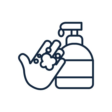 handwashing concept of soap bottle and hand icon over white background, line style, vector illustration