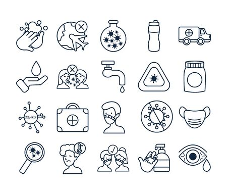 covid 19 and faucet icon set over white background, line style, vector illustration