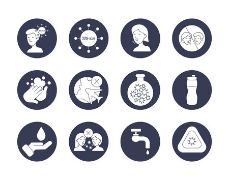 Icon set of virus symbol and covid 19 concept over white background, block style, vector illustration