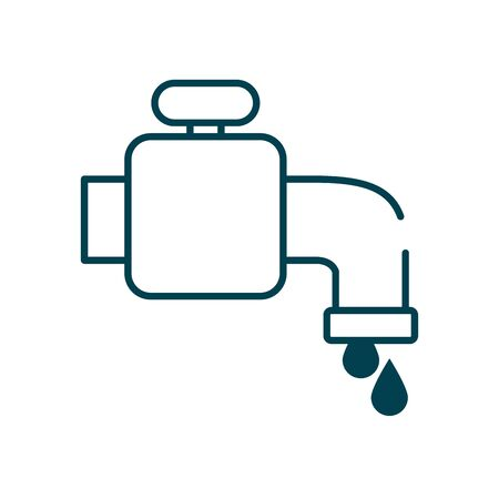 water faucet and drops icon over white background, line style, vector illustration