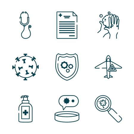 stethoscope and covid 19 concept icon set over white background, line style, vector illustration