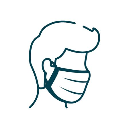 man with mouth mask icon over white background, line style, vector illustration