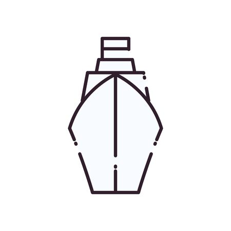 Ship vehicle line style icon design, Boat nautical transportation marine sea summer ocean and travel theme Vector illustration Ilustração