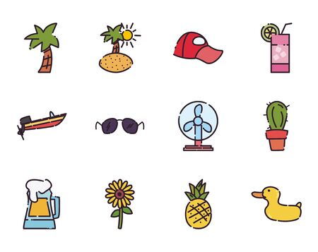 fill style icon set design, Summer vacation tropical relaxation outdoor nature tourism relax lifestyle and paradise theme Vector illustration