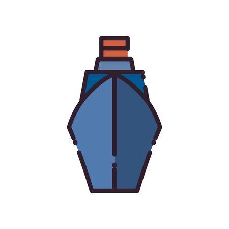 Ship vehicle fill style icon design, Boat nautical transportation marine sea summer ocean and travel theme Vector illustration Ilustração