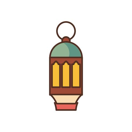 Ramadan lantern fill style icon design, Islamic muslim religion culture belief religious faith god spiritual meditation and traditional theme Vector illustration