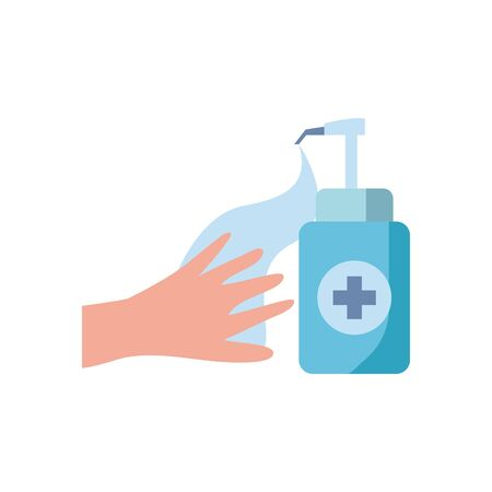 hand with antibacterial gel bottle icon over white background, flat style icon, vector illustration